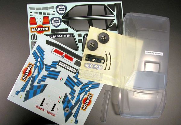 Lancia Delta Integrale 1989 clear body with Martini decal sheet