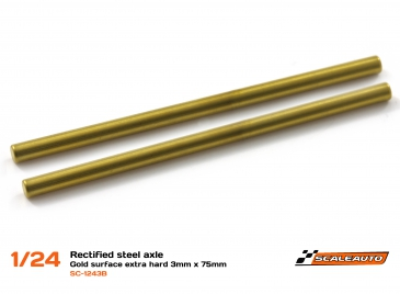 Rectified extra hard steel axle 3mm x 75mm, gold plated