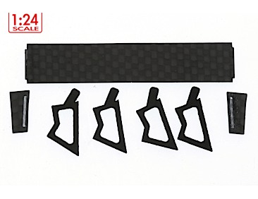 Porsche 997 1/24 carbon rear wing and rubber mountings