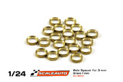 Axle spacers for 3mm axle, 1mm thick, brass